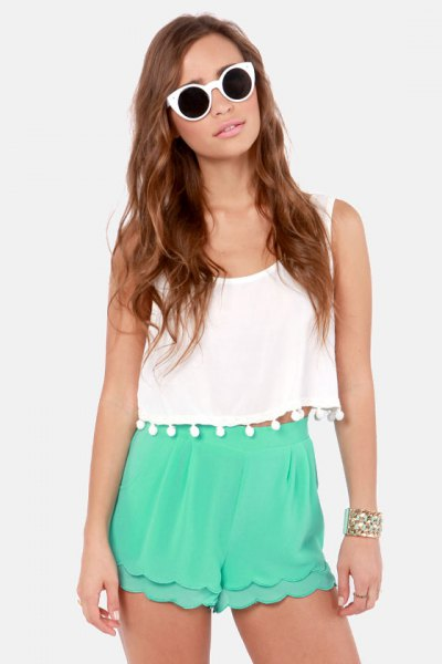 white tassel cropped tank top grey high waisted chiffon scalloped shorts