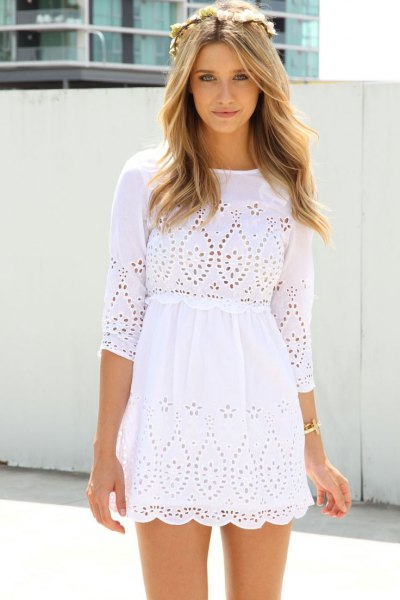 white three quarter sleeve crochet mini beach dress