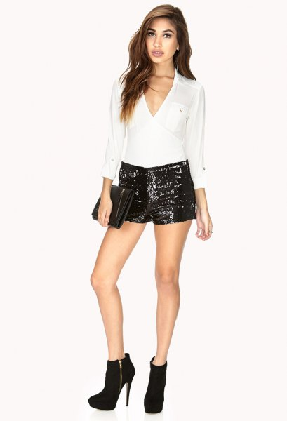 white v neck chiffon top black mini shorts