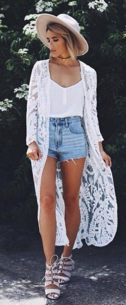 white vest top blue denim mini shorts