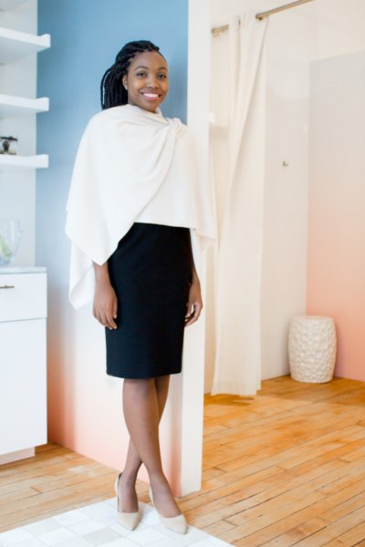 white wrap black pencil skirt