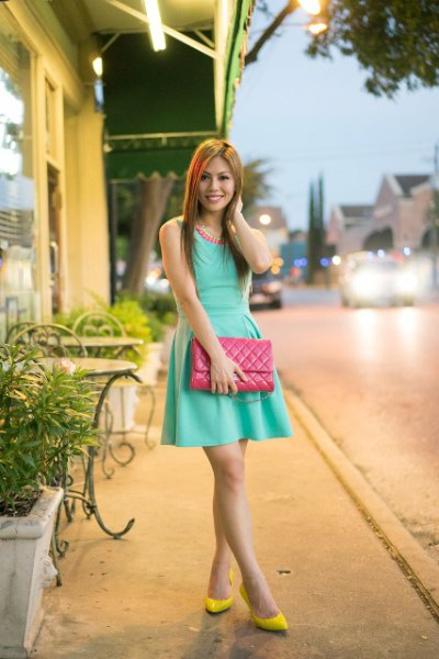 yellow ballet heels pink skater mini dress