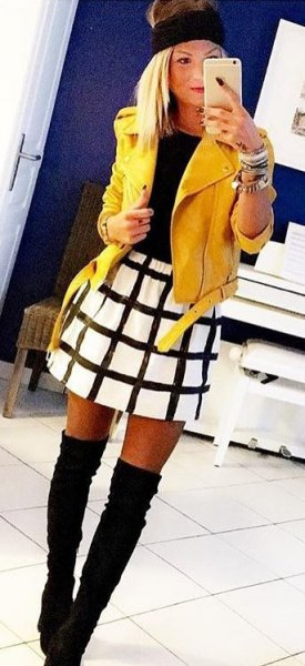yellow leather jacket white and black plaid skater skirt