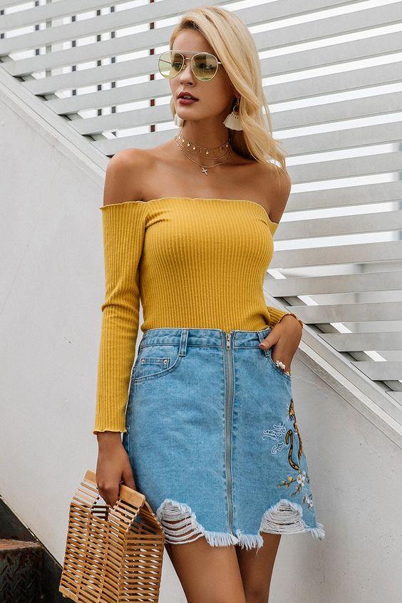 yellow off the shoulder top denim skirt