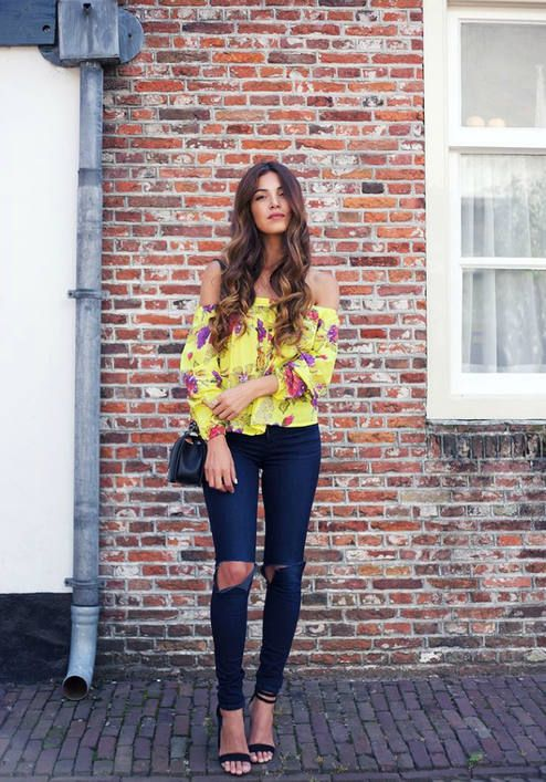 yellow off the shoulder top floral
