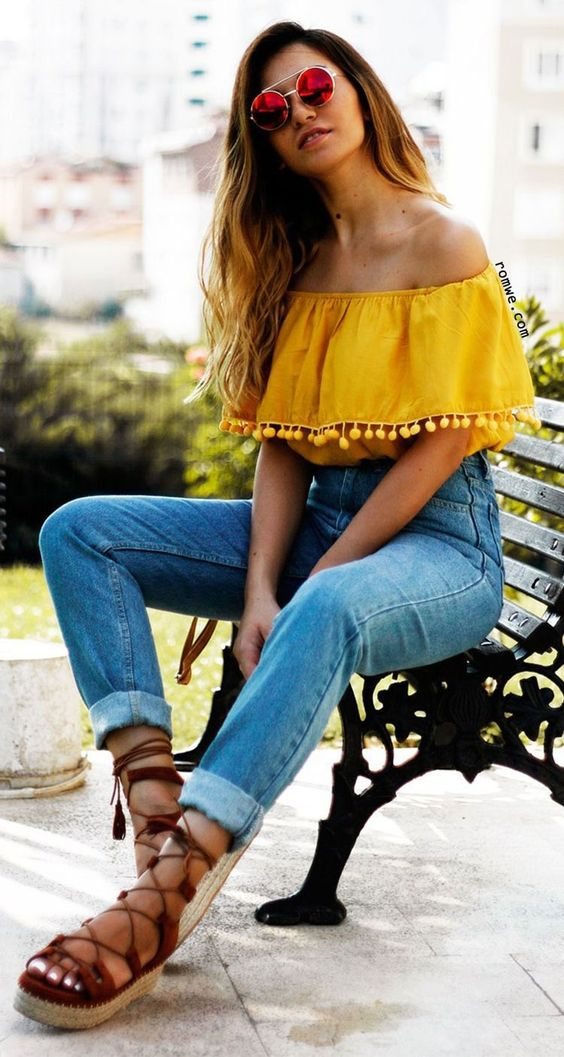 yellow off the shoulder top high waist jeans