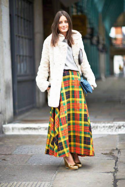 yellow plaid skirt teddy bear coat