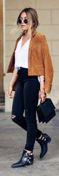yellowish brown suede jacket white blouse