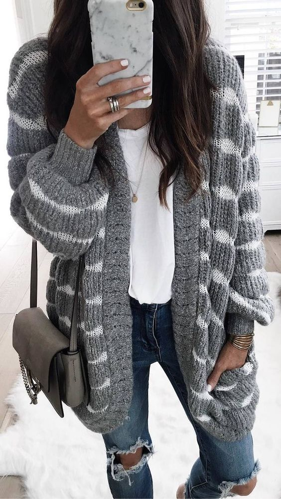 striped cardigan grey