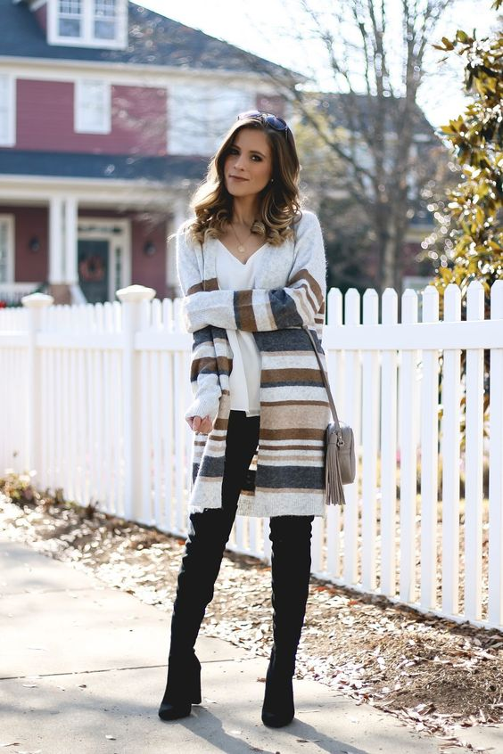 striped cardigan neutral tones