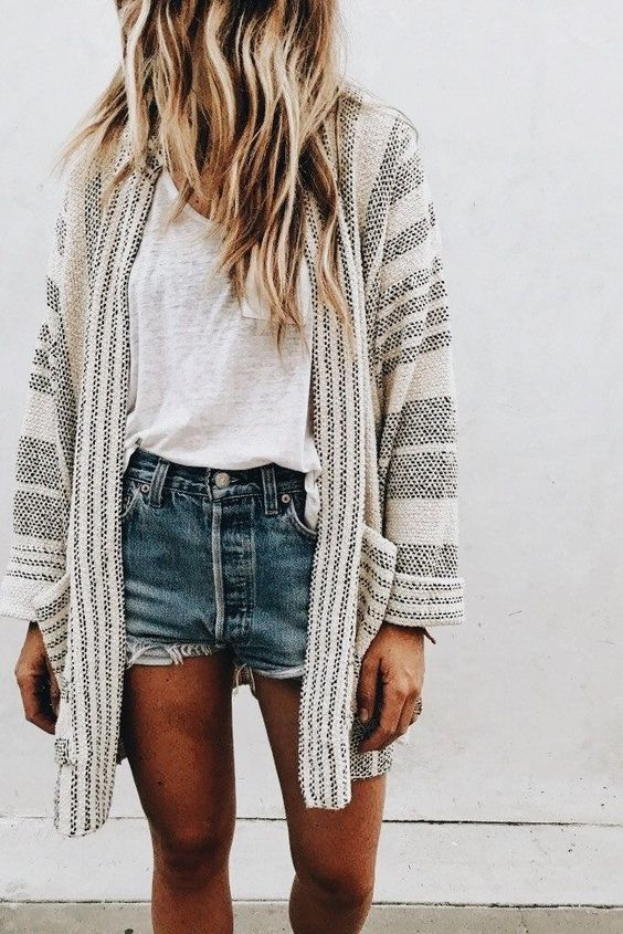 striped cardigan denim shorts