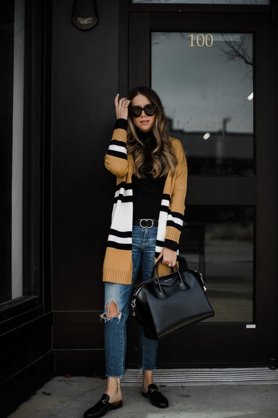 striped cardigan camel