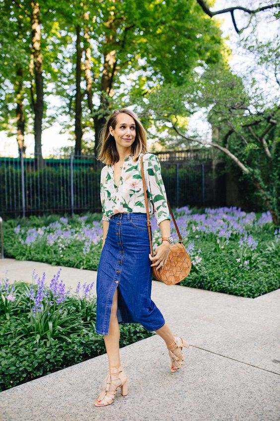 denim midi skirt floral blouse