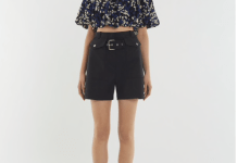 black cargo shorts ruffle top