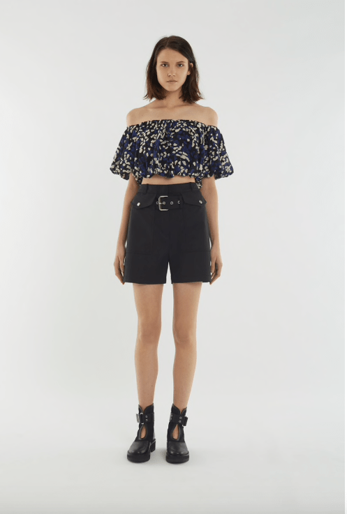 black cargo shorts ruffle top