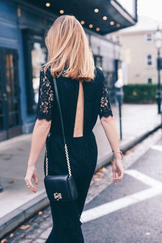 backless jumpsuit black lace