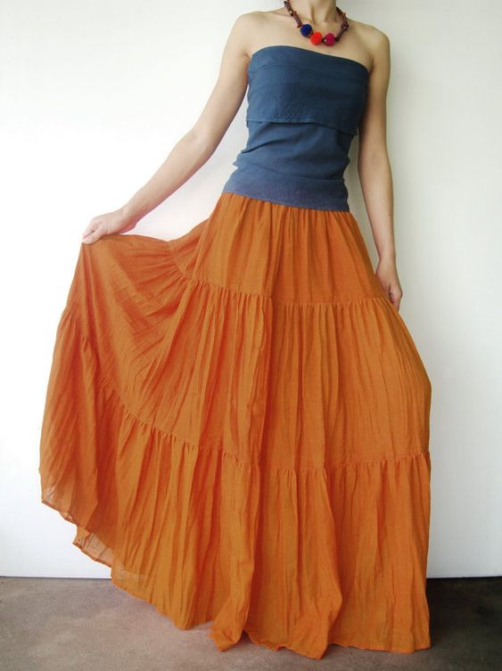 broomstick skirt orange