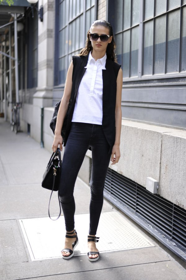 e16950c311 How to Wear Sleeveless Blazer  15 Amazing Outfit Ideas for Women ...