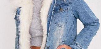 best fur lined denim jacket outfit ideas
