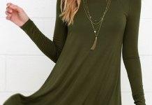 best long sleeve swing dress outfit ideas