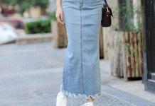 best denim maxi skirt outfit ideas