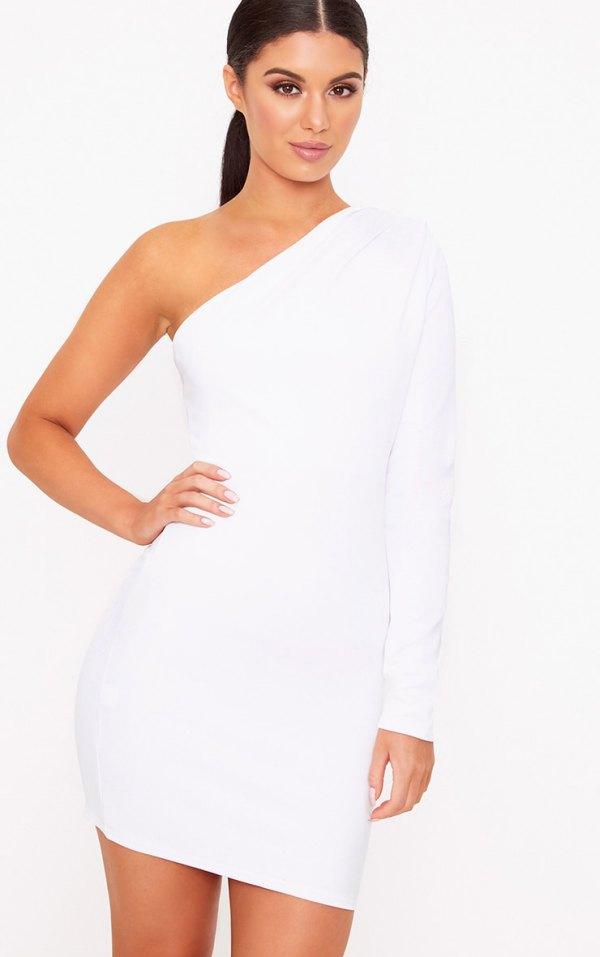 One Shoulder White Dress