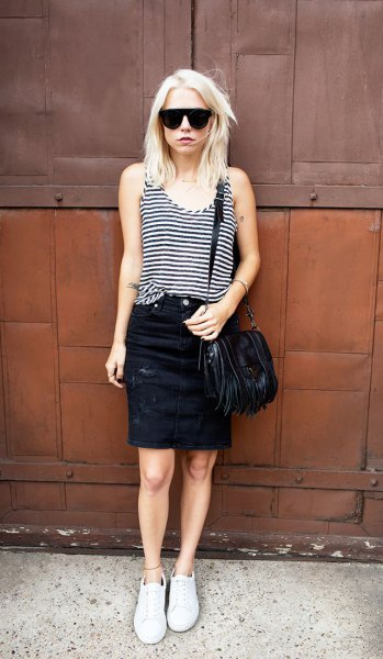 black and grey striped vest top with black denim mini skirt