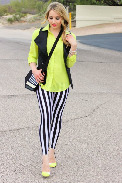 black and white striped leggings yellow button up shirt