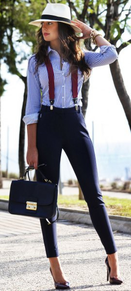 black and white striped shirt suspender twill pants