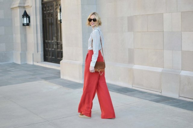 black and white striped shirt with red wide leg pants