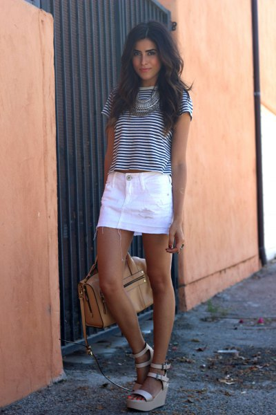 black and white striped t shirt with white denim skirt