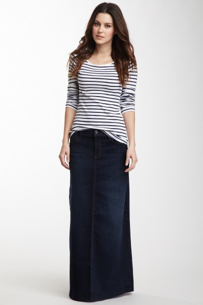 black and white striped tee and dark blue denim maxi skirt