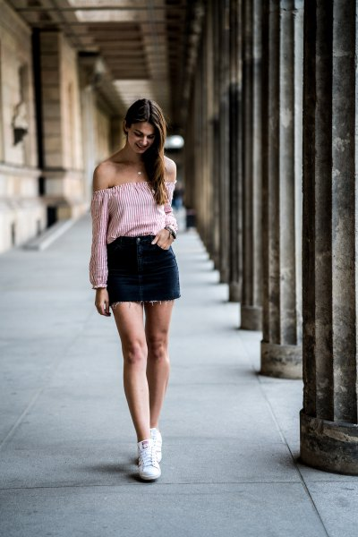 black and white vertical striped off the shoulder blouse with denim mini skirt