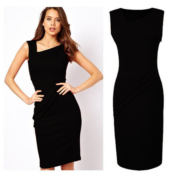 black asymmetric v neck sheath midi dress