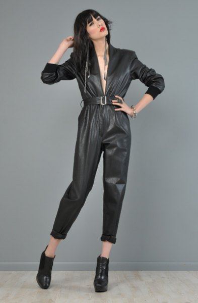 black belted cuffed jumpsuit with leather ankle boots