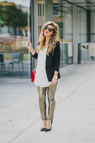 black blazer with white tunic tip silver glitter pants