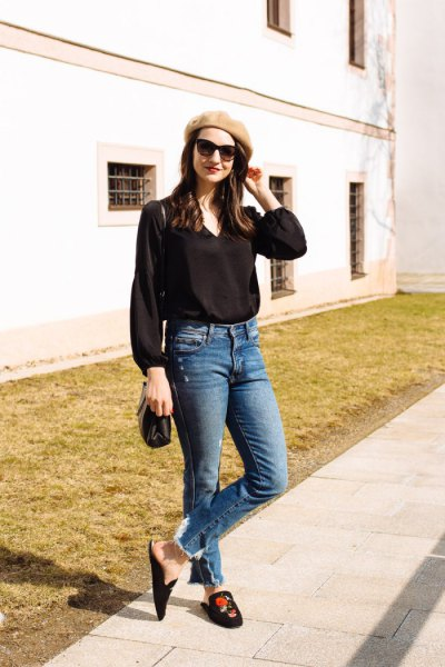 black button up blouse jeans