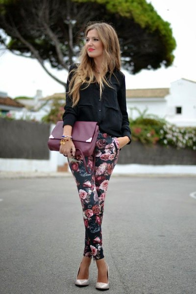 black button up shirt floral pants