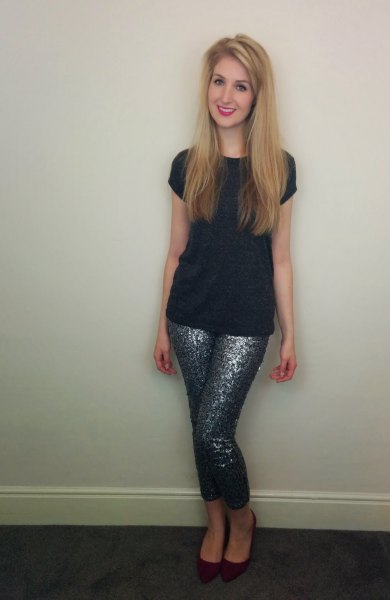 black cap sleeve tee with sequin leggings