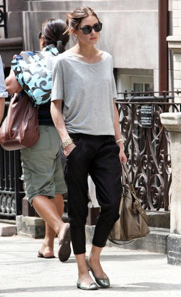 black capris with grey oversized t shirt