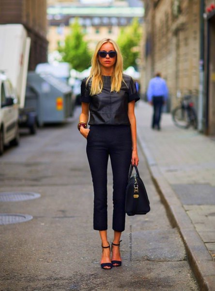 black capris with leather short sleeve shirt