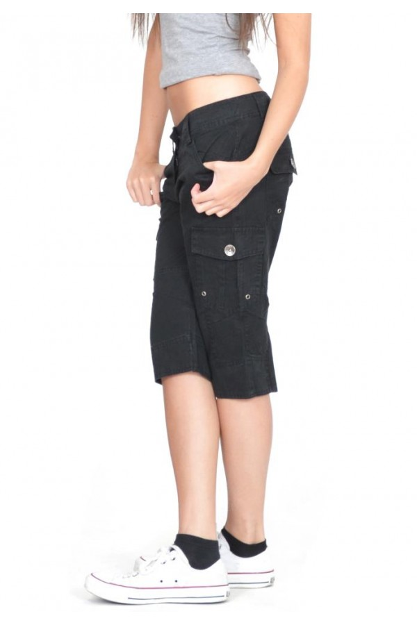 black cargo shorts casual sporty
