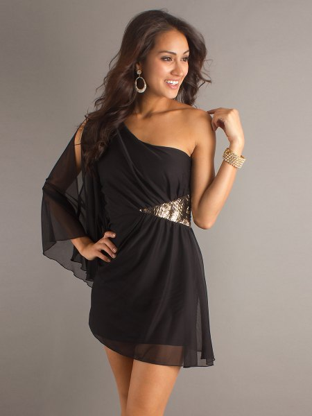 black chiffon mini dress with silver sequin details