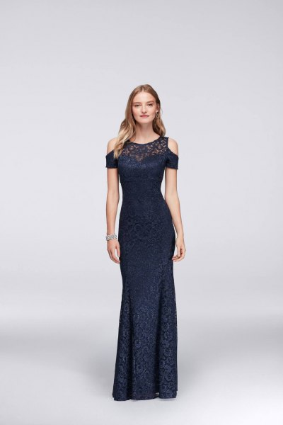 black cold shoulder lace floor length cocktail dress
