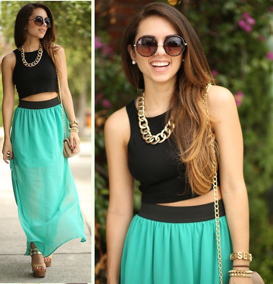 black crop top with grey maxi chiffon skirt and chain necklace