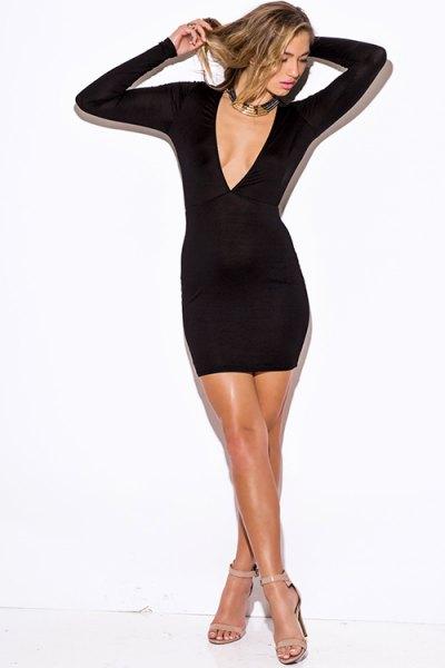 black deep v neck bodycon mini dress with silver choker
