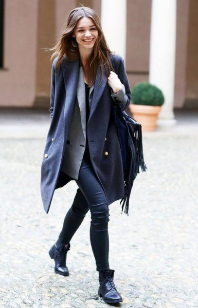 black double breasted long wool blazer with grey vest and skinny jeans