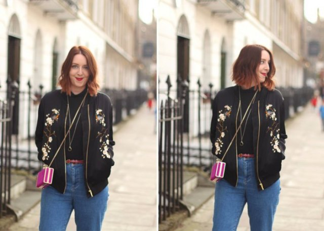 black embroidered jacket blue mom jeans