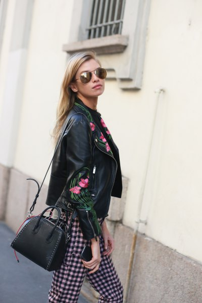 black embroidered leather jacket checkered pants
