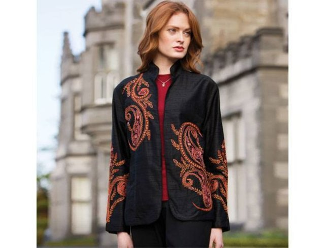 black high neck embroidered silk jacket with red top